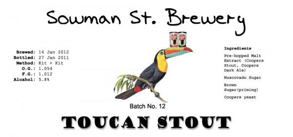 Label for Toucan Stout